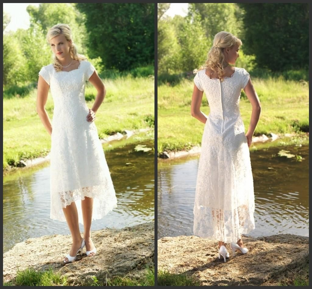 Tea length plus size wedding dresses  Discount Temperament  Country Wedding Dresses Sleeves Square