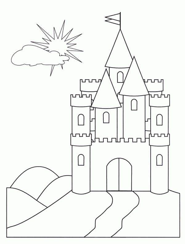 Medieval Castle,  Medieval Castle Front Face Coloring Page