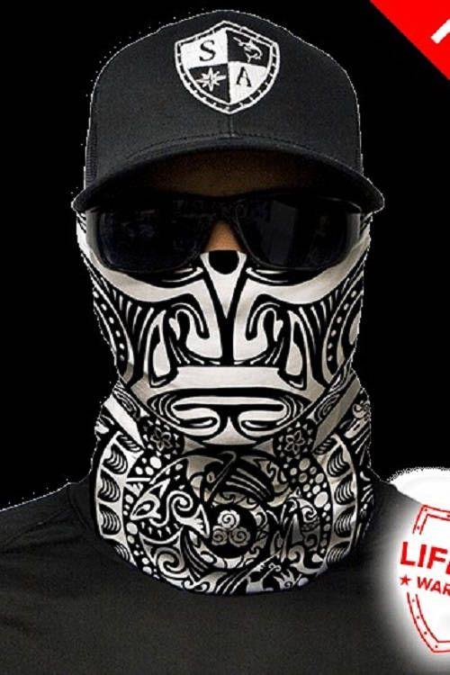 507cfd29e Polynesian Tribal Black & White Multi Purpose Face Shield Balaclava Bandana  Neck Gaiter Sun Mask Neckerchief by VaderUnlimited on Etsy