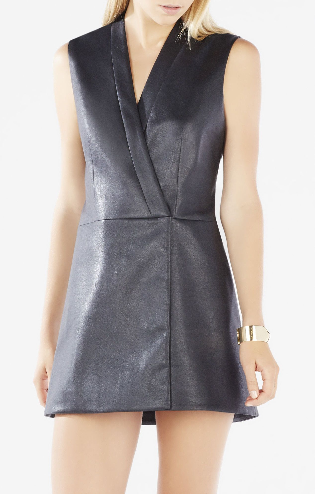 BCBG Caryn Faux-Leather Wrap Vest Dress
