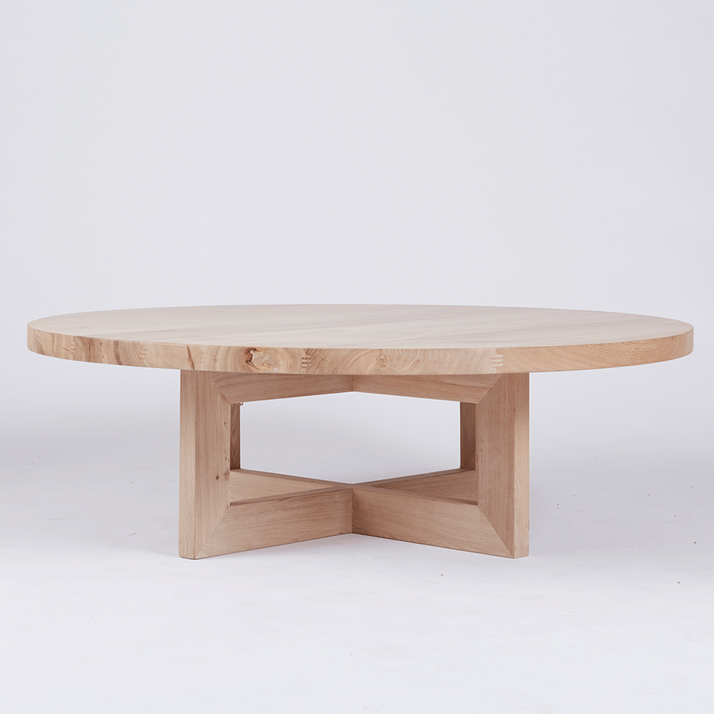 The Bondi Round Coffee Table Crafted From Elm Wood And Timber