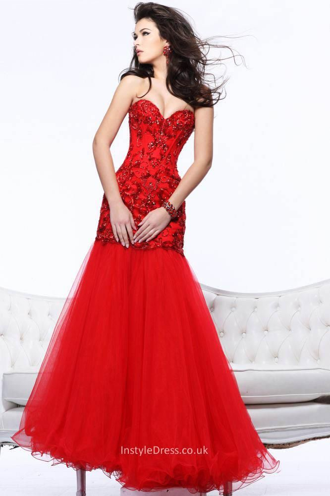 red mermaid style prom dress with beaded dress and tulle removable ...