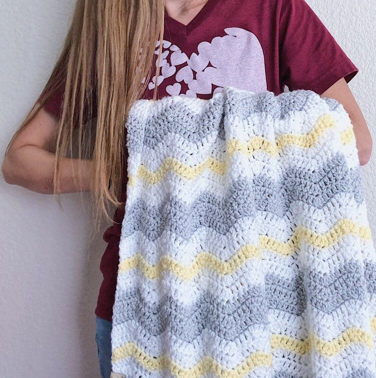 Crochet baby blanket, baby blanket, yellow, white and gray ...