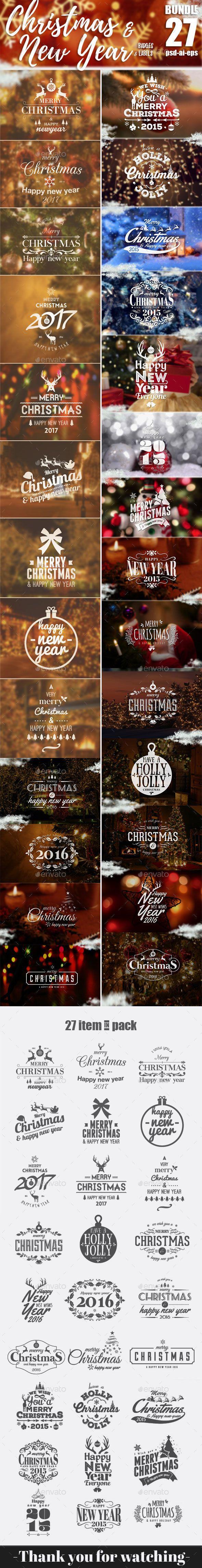Bundle Christmas Badges & label | Ai illustrator, Label templates ...