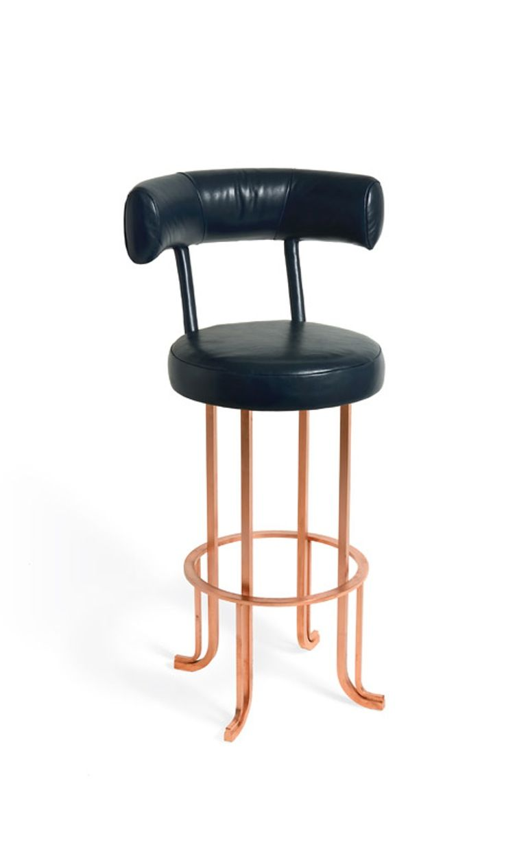 The fouette bar stool midcentury modern metal leather stool by soane britain