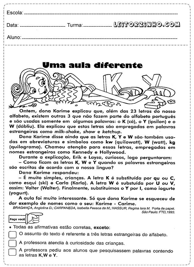 Famosos Interpretação de texto para o quinto ano | Educação | Pinterest  SG31
