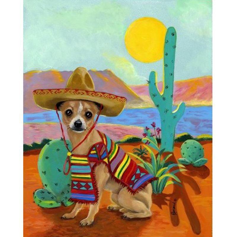 5d Diy Diamond Painting Cartoon Mexican Chihuahua Craft Kit