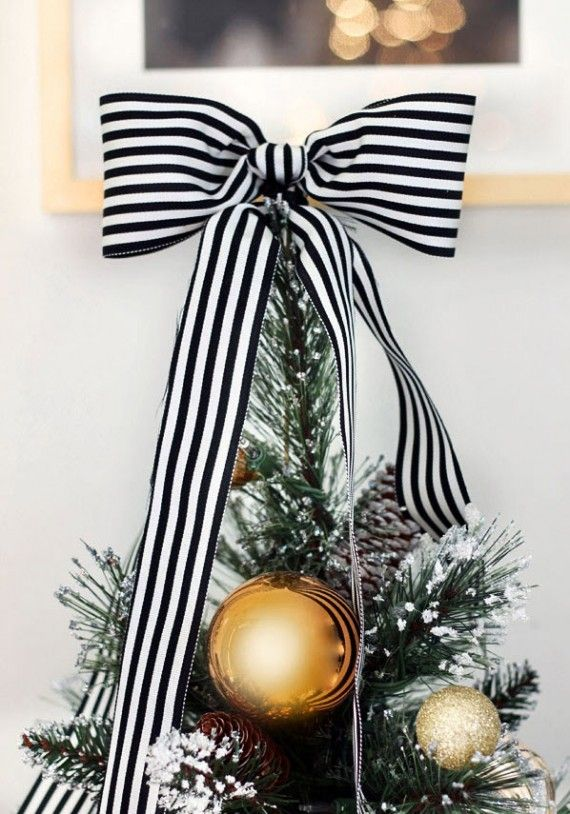 Black And White Ribbon For Christmas Tree Topper Christmas Ideas