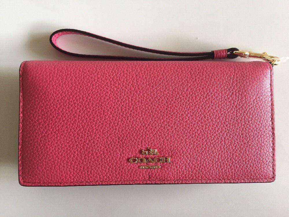 826cc2431681a Coach 53759 Slim Wallet in Colorblock Leather Dahlia Pink Wristlet ...