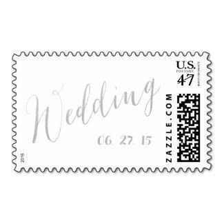 Silver Foil Glamor | Wedding Date Postage Save $5.00 now on all wedding custom postage stamps USE CODE: SAVEONSTAMPS
