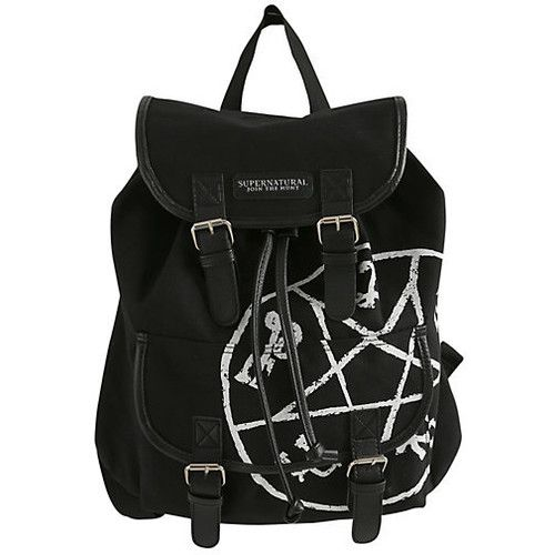 Supernatural Runes Slouch Backpack | Hot Topic featuring polyvore fashion bags backpacks accessories supernatural knapsack bags black backpack black rucksack slouch backpack slouchy backpack