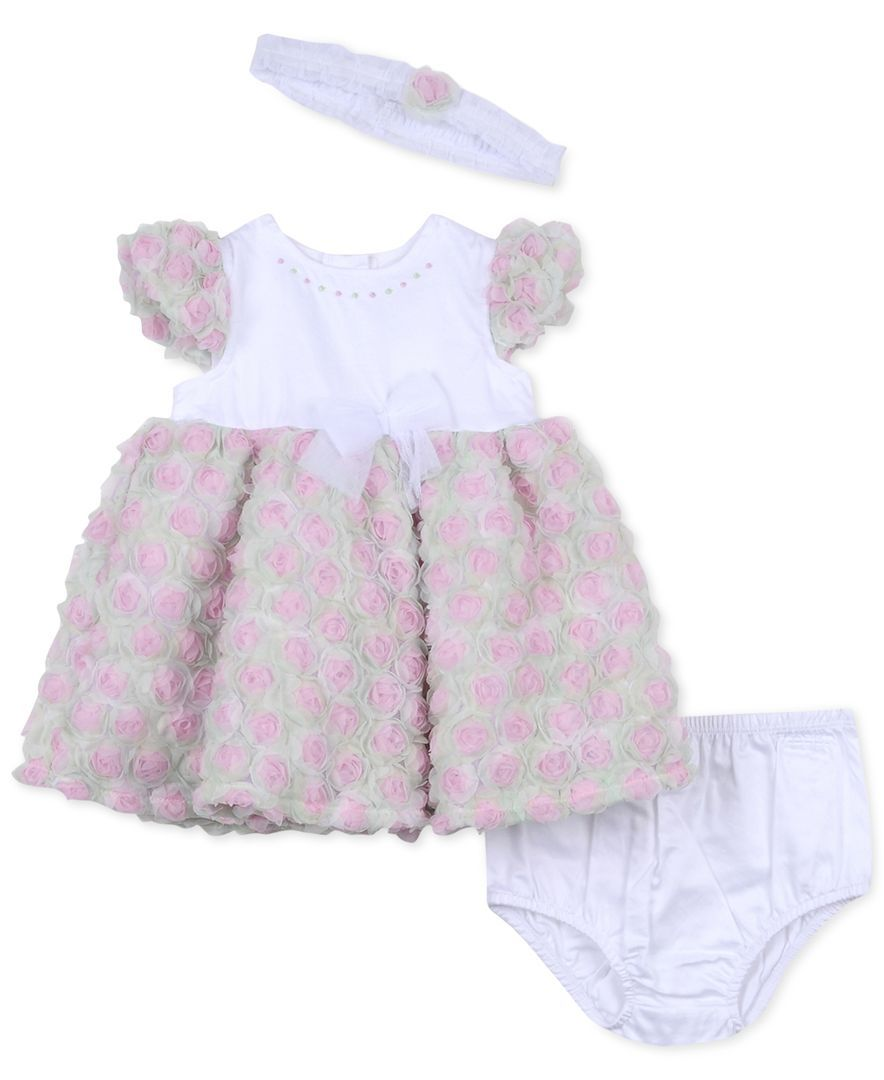 Little Me Baby Girls' Rose Party Dress & Diaper Cover Set