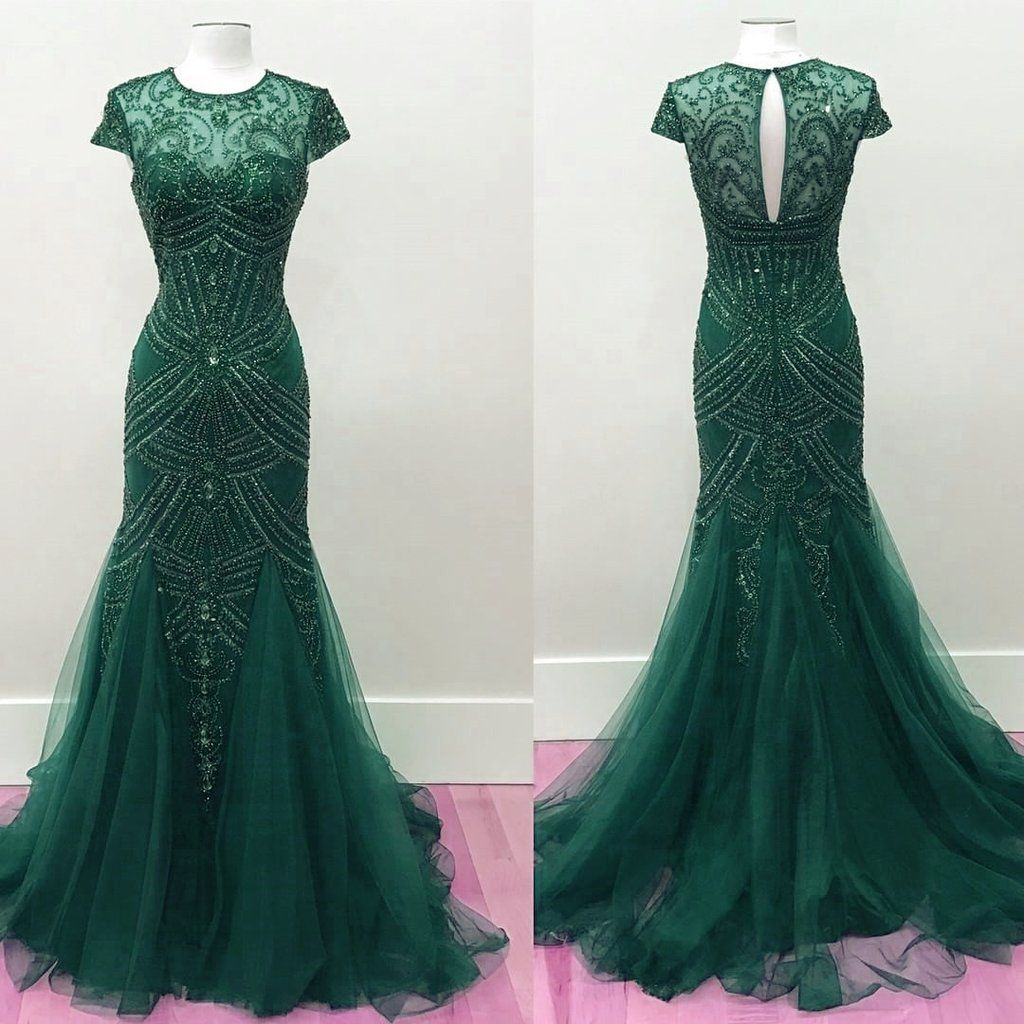 Emerald green tulle fully beaded mermaid prom dresses pageant