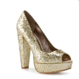 DSW Gold glitter heel | Glittery shoes