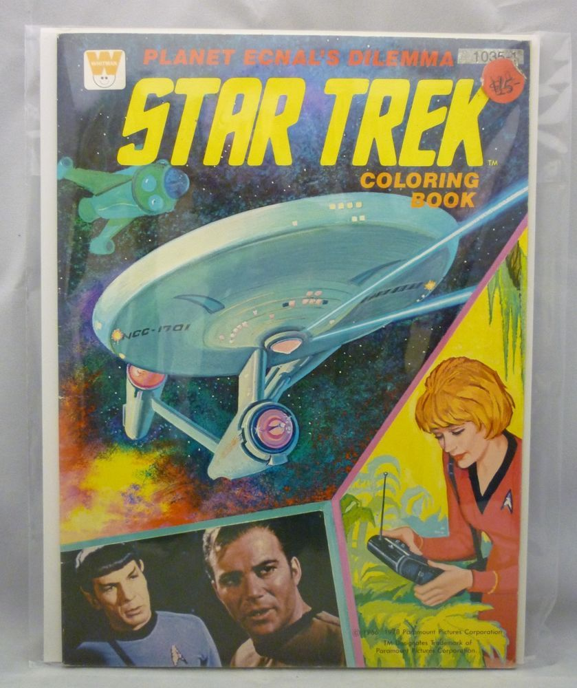 Whitman hot wheels coloring book - Vintage Whitman Star Trek Planet Ecnal S Dilemma Coloring Book Unused Rare