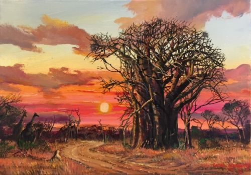 Purchase artwork Baobab Sunset created by South African ...