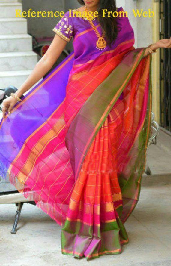 5f466334deaf93 Uppada Orange Pink Color checks color border Silk saree | Products ...