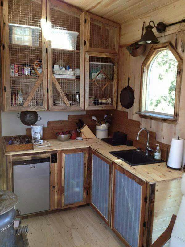 Chicken Wire Tin Repurposed Wood Tiny House Kitchen Rustic Kitchen Cabinets Rustic Kitchen