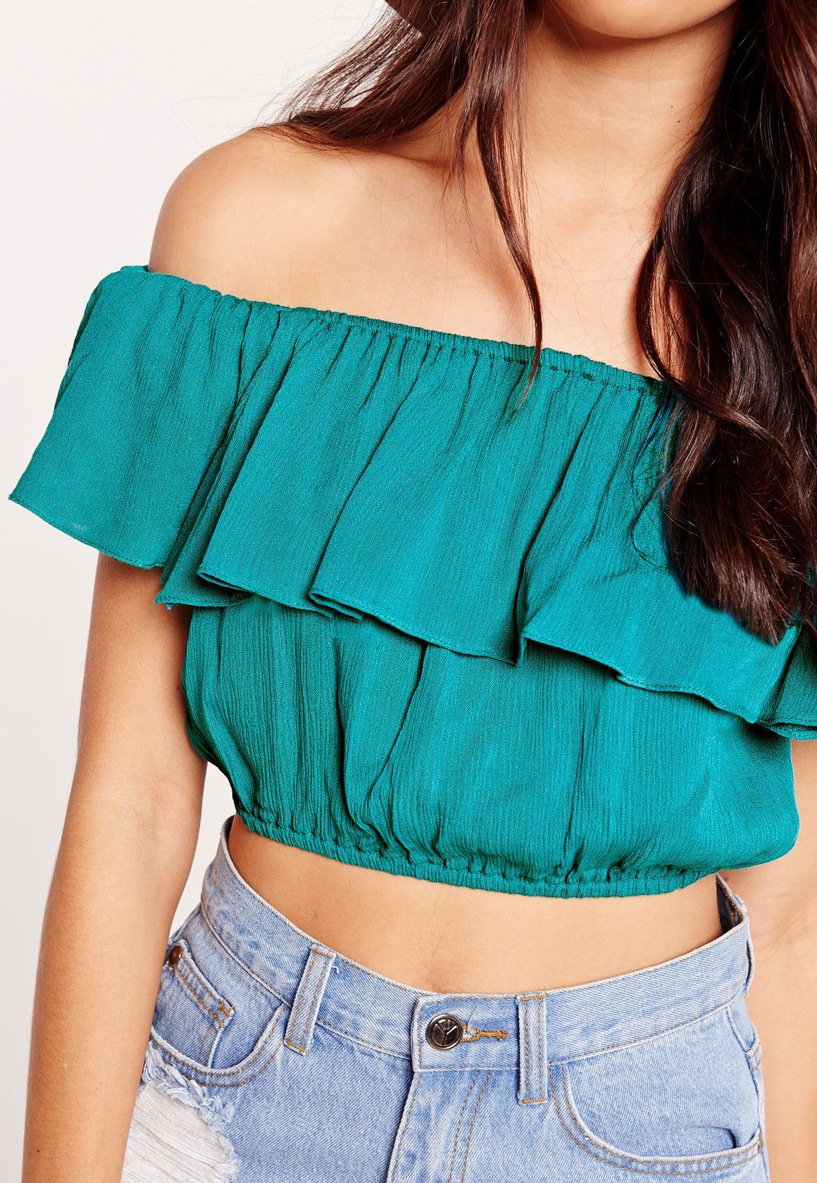 b62a2dffb7bc2 Missguided - Cheesecloth Bardot Crop Top Blue