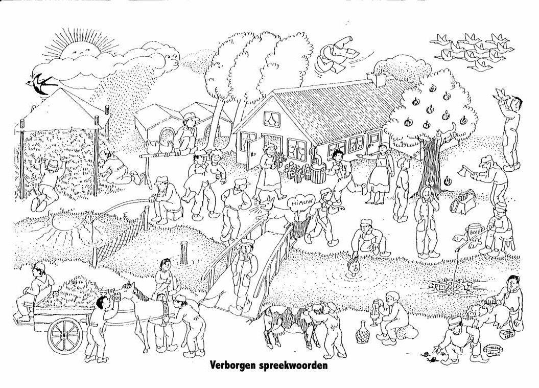 tekening spreekwoorden met afbeeldingen figuurlijke