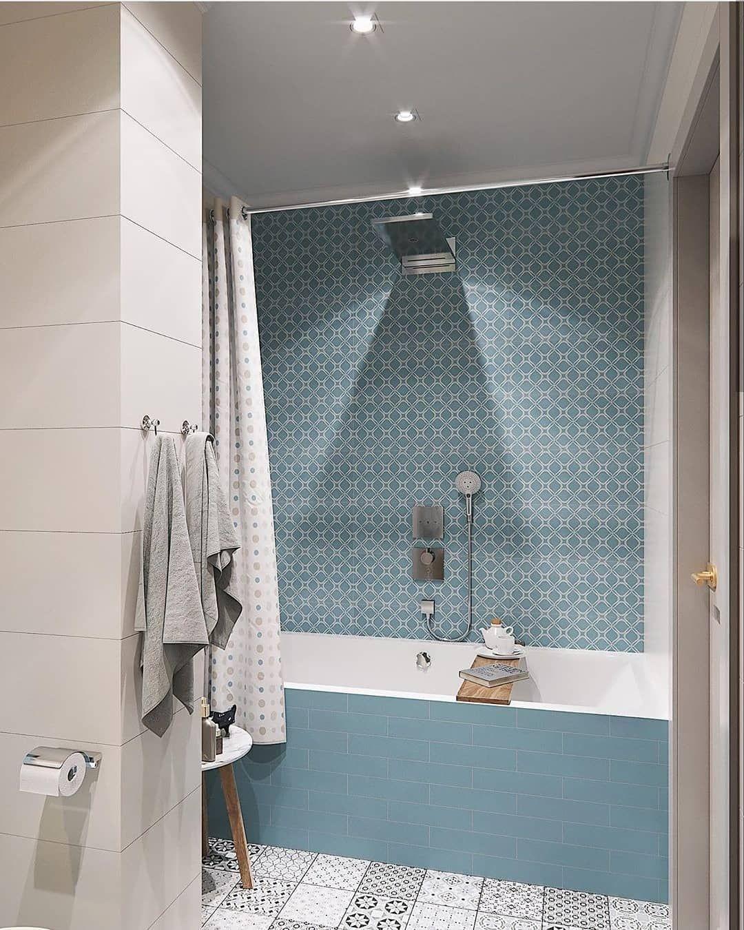 """Photo of Rørkjøp.no på Instagram: """"Se så fint det er litt farger på badet? Flott kombinasjon av materialer, og kjempe stilig løsning med kombinert badekar / dusj fra våre…"""""""