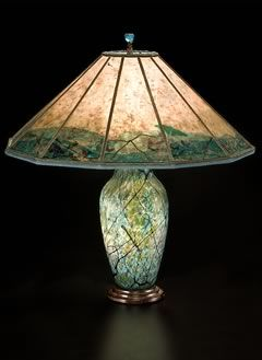 Lindsay Art Glass Lamp With Dragonfly Mica Lamp Shade