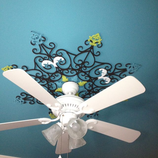 Hand Painted Ceiling Fan Medallion Ceiling Fan Makeover Ceiling