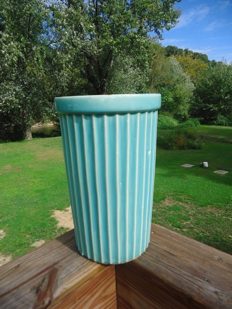 Antique Vintage Mccoy Pottery Umbrella Vase Stand Green Turquoise
