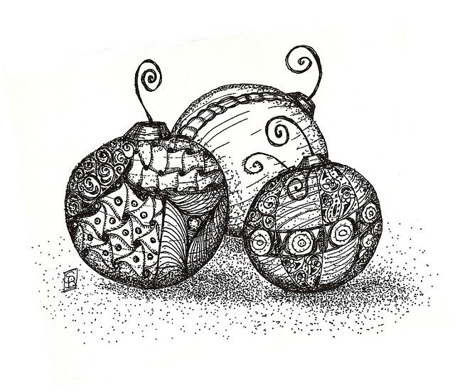 doodled pen and ink ornaments