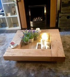 Oak sleeper Coffee Table. wooden coffee table, tab