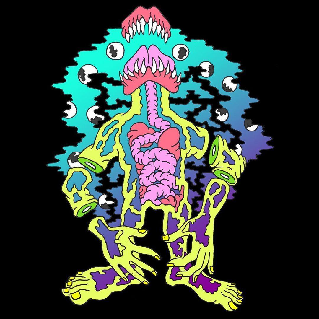 Eye lord king of eyes 👁👅👁 . . . . . #eyes #demon #neon #monsters #weirdart #art #trippy #psychadelic #aesthetic #illustration #drawing #penandink #micron