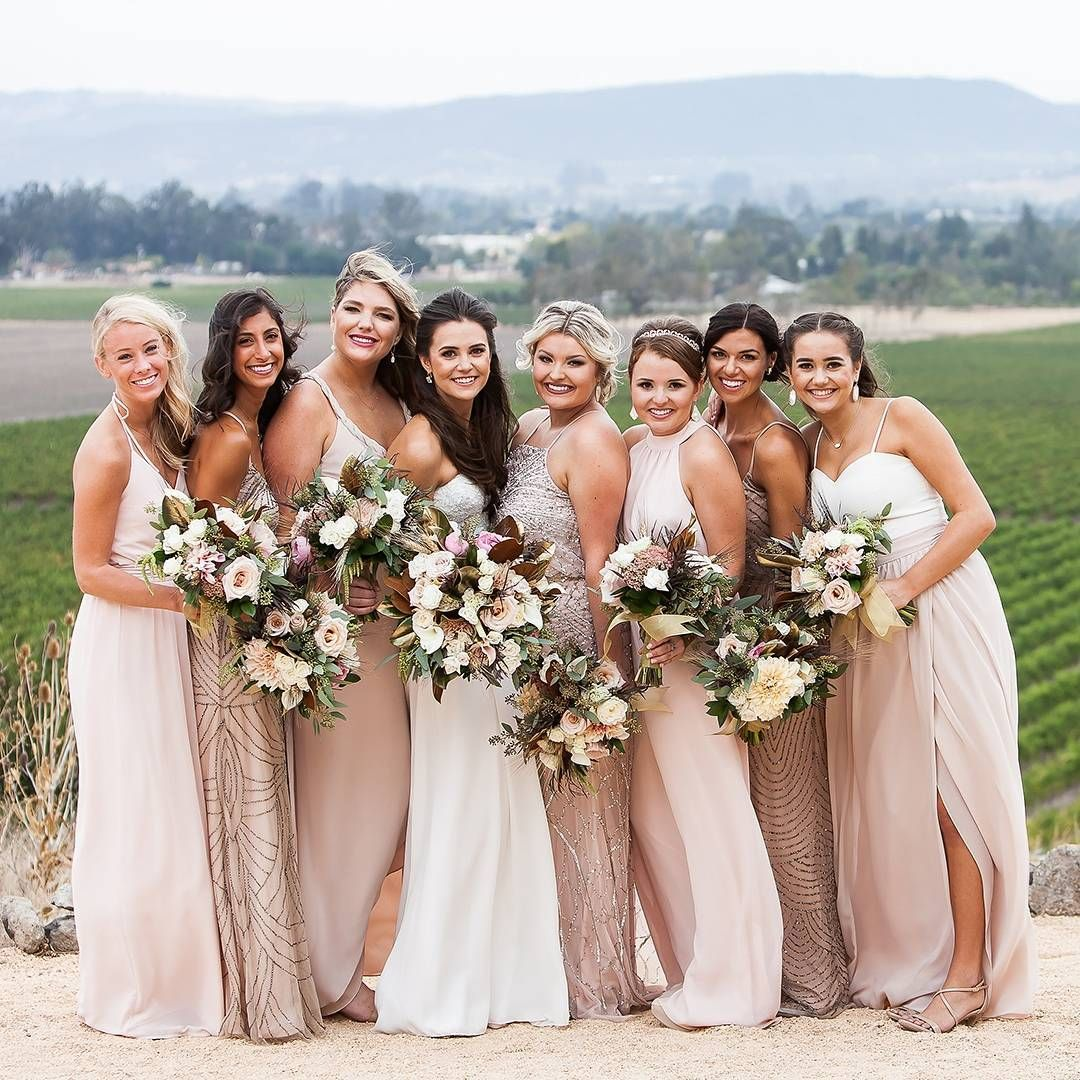 gorgeous bride and her bridesmaids love all these sarah seven find it at aandbe bridal shops denver minneapolis and dallas junebug weddings ombrellifo Image collections