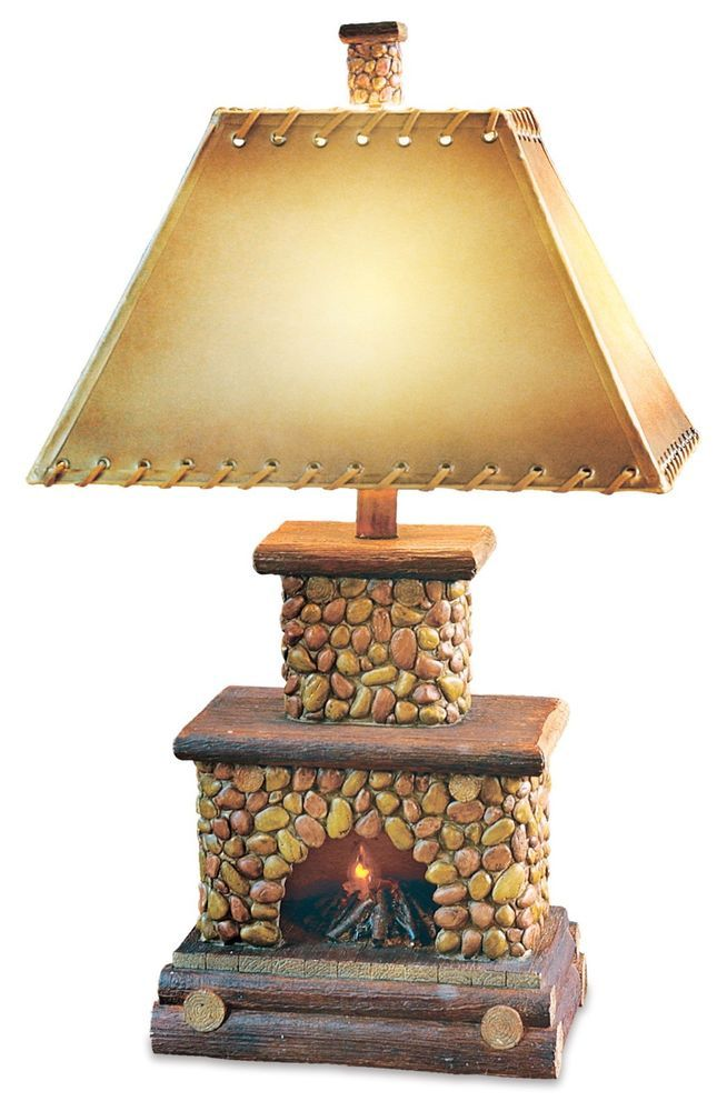 Stone Fireplace Table Lamp Flicker Flame Nightlight Rustic Cabin Lodge Chimney Rustic Lamps Table Lamp Lamp