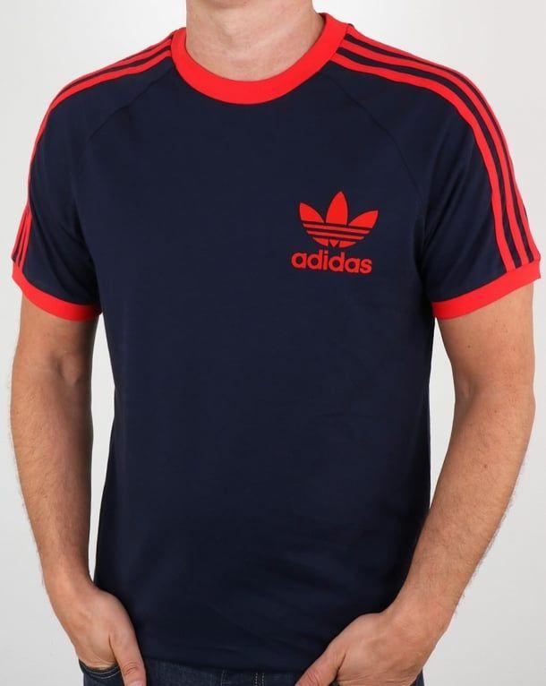Adidas T Shirt, Navy, Red, California, 3 stripes, Originals