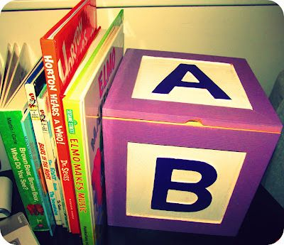 DIY Baby Shower Gift. Wood Alphabet box and purple accessories and name garland