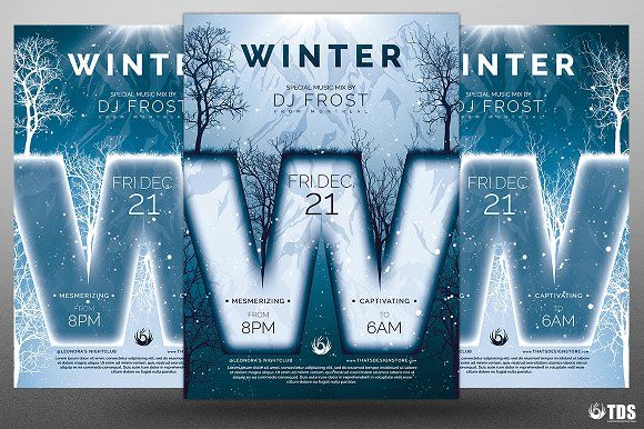 Minimal Winter Flyer Template by Thats Design Store on - winter flyer template