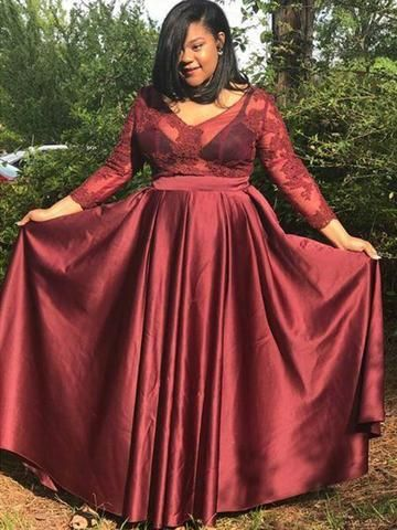 3/4 Sleeves Applique Burgundy Satin Plus Size Prom Dress | Prom ...