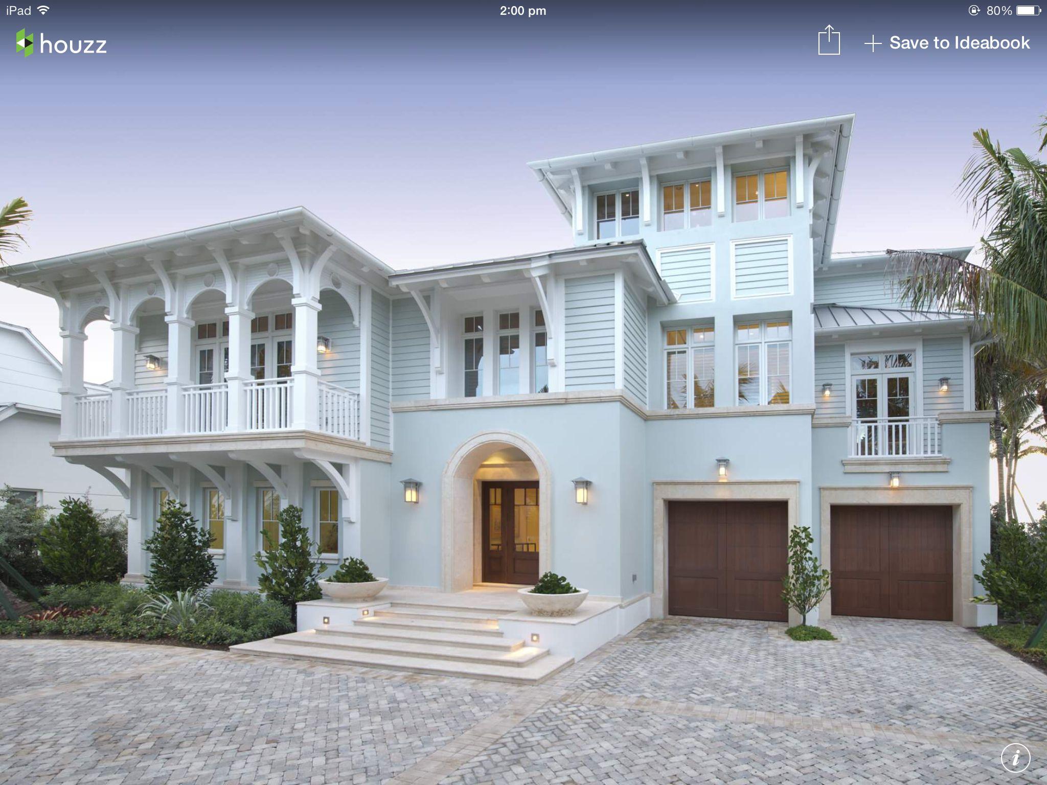 Light blue home interior design pinterest exterior - Beach house color schemes exterior ...