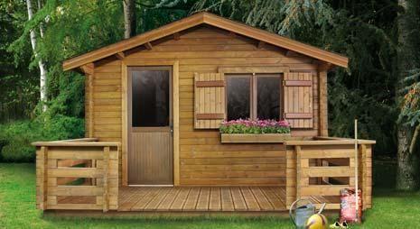 Une abri de Jardin type Mini Chalet suisse, avec sa terrasse et sa ...