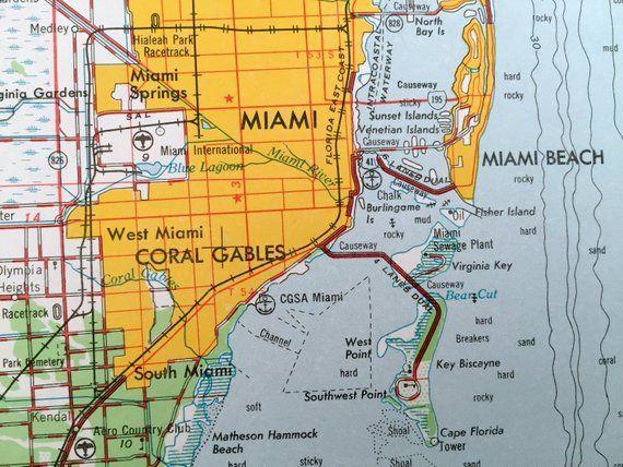 Antique Miami, Florida 1956 US Geological Survey Topographic ...