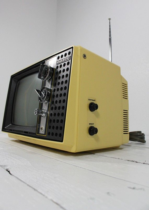 Canary Yellow Hitachi Vintage Working Television by