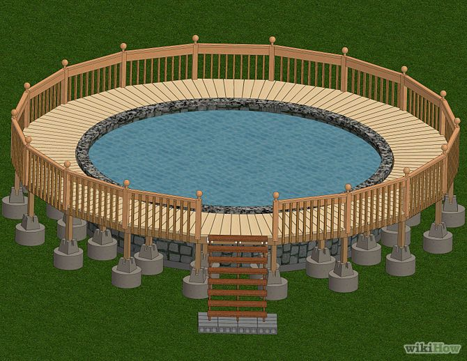 Build a deck around an above ground pool ground pools for Circular garden decking