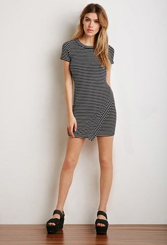 Faux Wrap Stripe Dress | Forever 21 - 2000077983