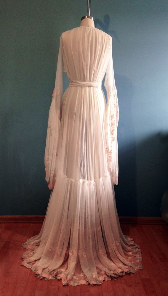 Extra-romantic sheer dressing gown is made with 10 yards of ...