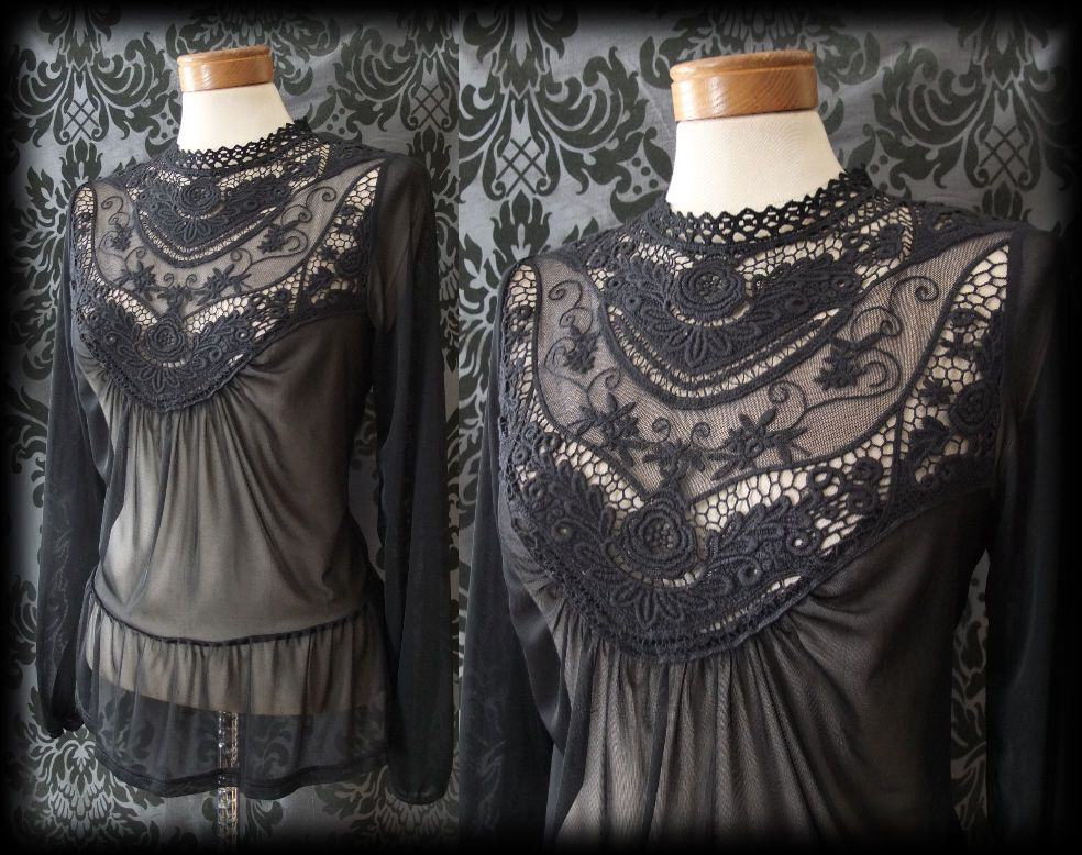 Gothic Black Detailed Lace Bib VICTORIAN GOVERNESS Sheer Blouse 12 14 Vintage BN - £29.99