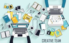 working place of creative team vector art illustration