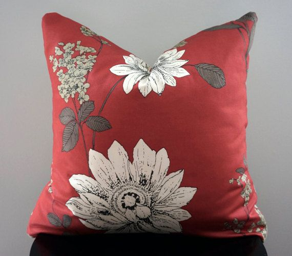 Modern Floral Throw Pillow Cover Red And White Decorative Pillow Delectable Large White Decorative Pillows