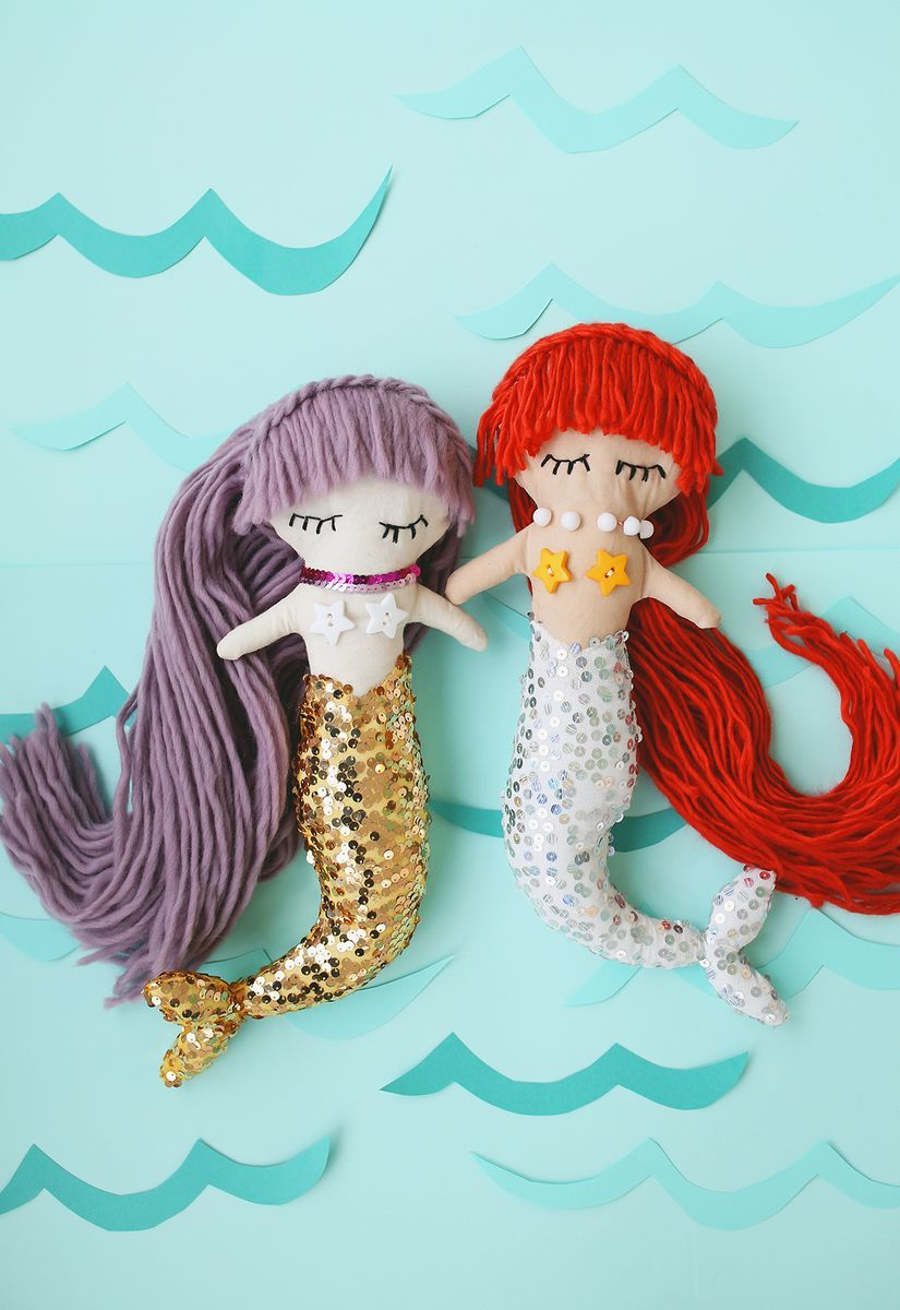 mermaid plush dolls with downloadable pattern basteleien. Black Bedroom Furniture Sets. Home Design Ideas