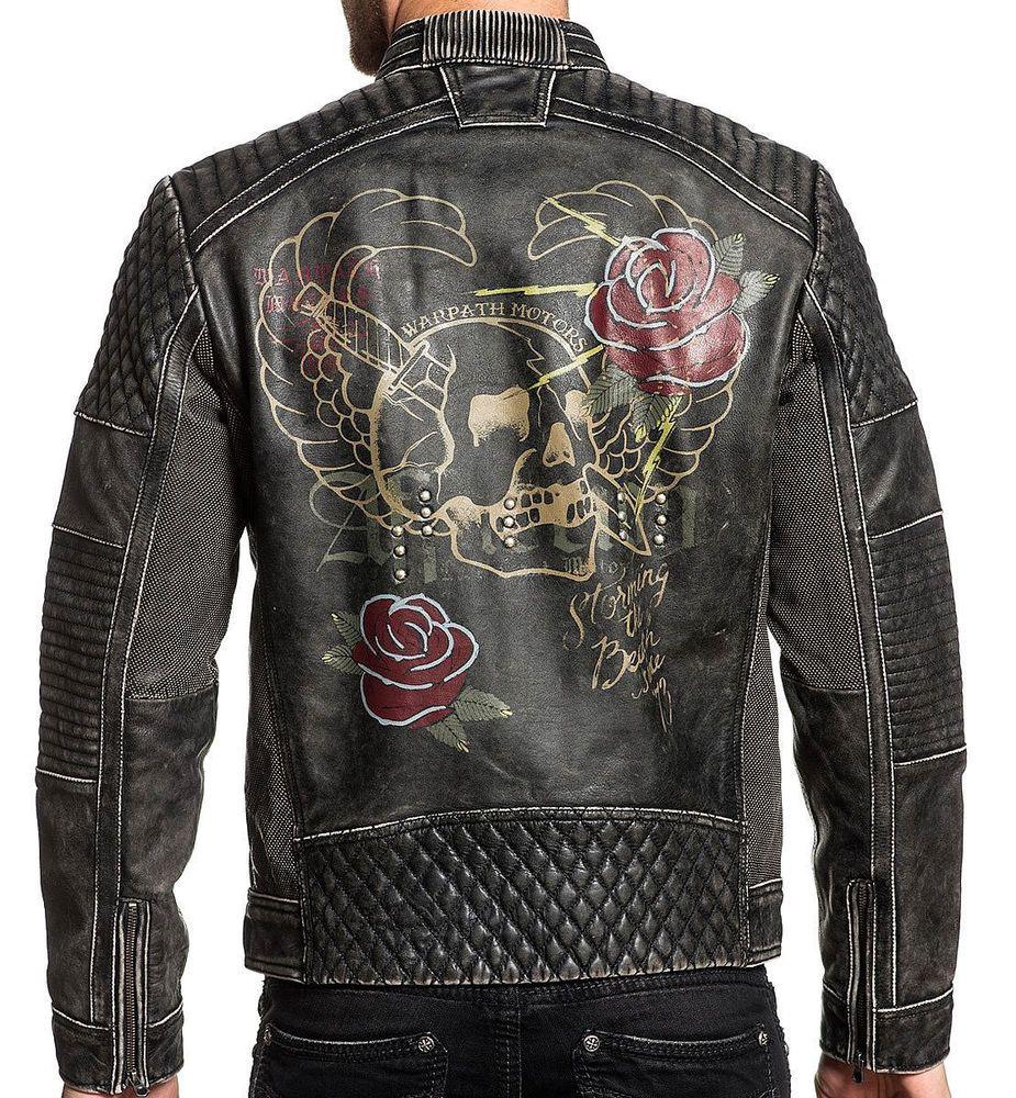 879344645 MEN'S VINTAGE Fast Motors Tattoo Skull Dagger Rose Wing Men Leather ...