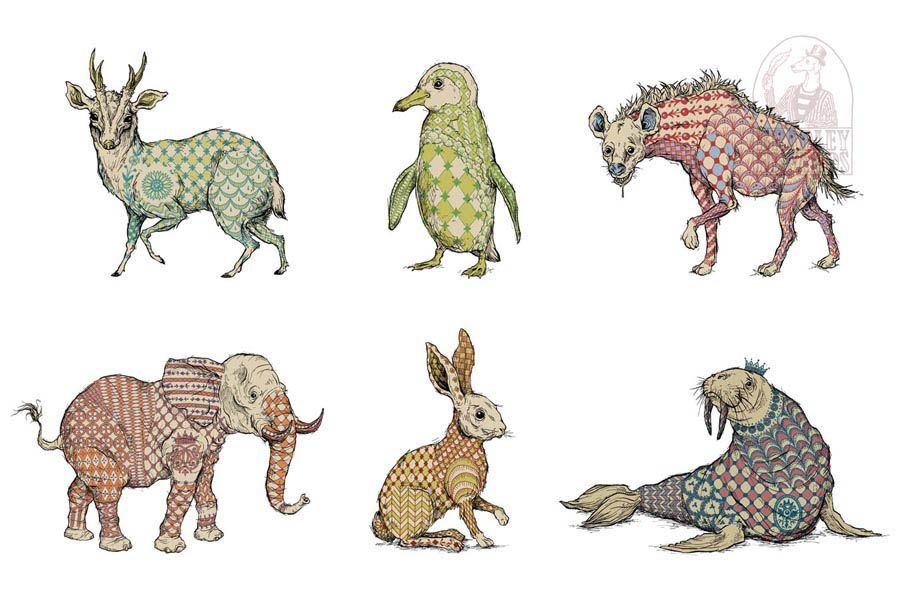 Beasts of Faberge by artist Bradley Edwards who specializes in creating intricately detailed sketches of visually engaging cartoons. The inspiration for his style stems from turn of the century illustrators like Arthur Rackham and Gustave Dore, though the additional influence of modern indie comic artists brings a contemporary edge to his artwork. His most recent designs often incorporate traditional Celtic and Nordic symbols into his expressive illustrations.